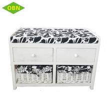 2017 new product bedroom cabinet 2 wicker drawers 2 wooden drawers storage cabinet with sponge cushion