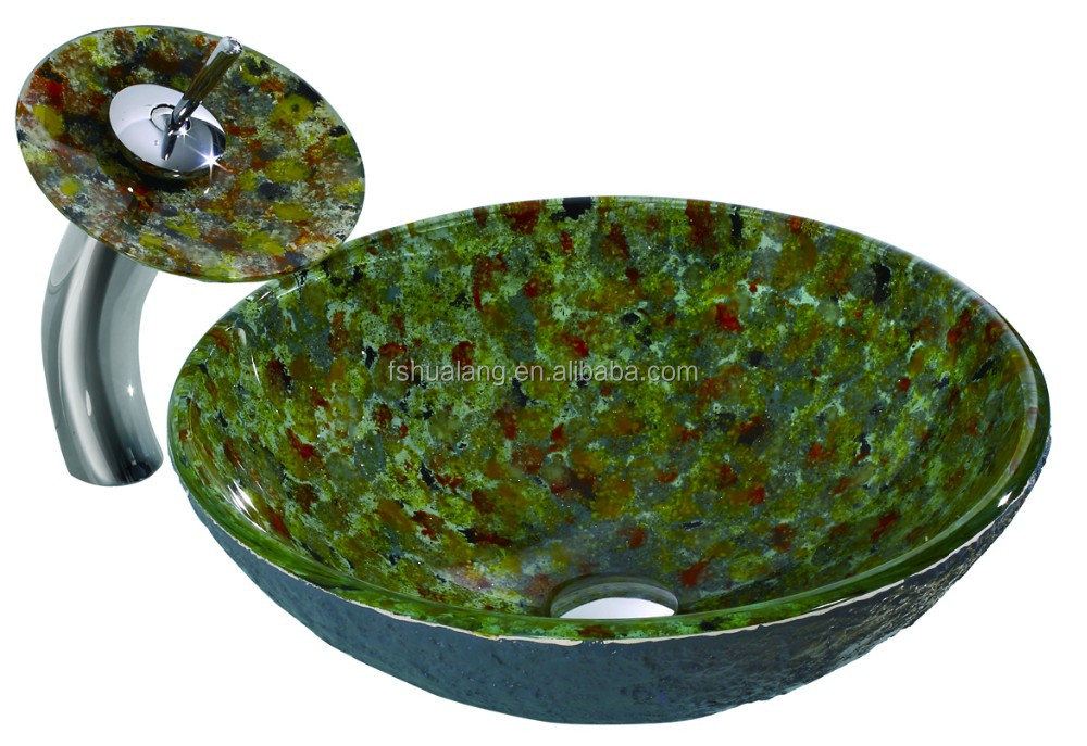 W08 Granite imitation Glass Vessel Sink with Waterfall Faucet Set