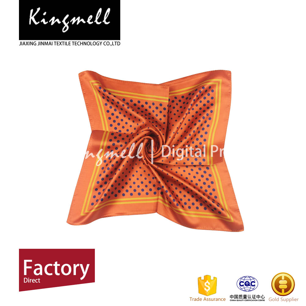 Wholesale Orange Digital Silk Scarf Printing Square Scarves