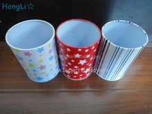 Wholesale round shape tin pen holder Hot sell tin pen container