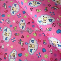 pink cotton printed flannel fabric for children