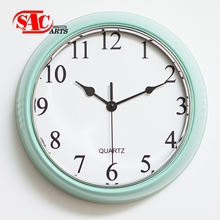 simple style white Round Metal Wall Mount Clock