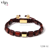 brown tiger stone natural beads weaving beads bracelet with provide totem design real picture bracelets mens jewellery