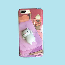 Hot Selling 3D Squishy Cute cat and panda soft kneading squeeze Silicone Phone case for iPhone 6/6s/6 plus/7/7plus/8