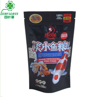 Factory price plastic ziplock stand up fish food bag for fish food packaging with hanging hole