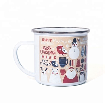 enamel camping sublimation 12oz white Christmas mugs