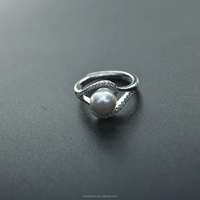 Wholesale fashion silver rings Single pearl rings setting cz stones for women