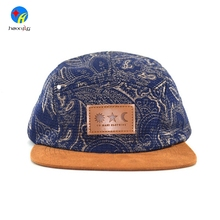 Fashion Flat Suede Brim Leather Patch Logo 5 Panel Hat