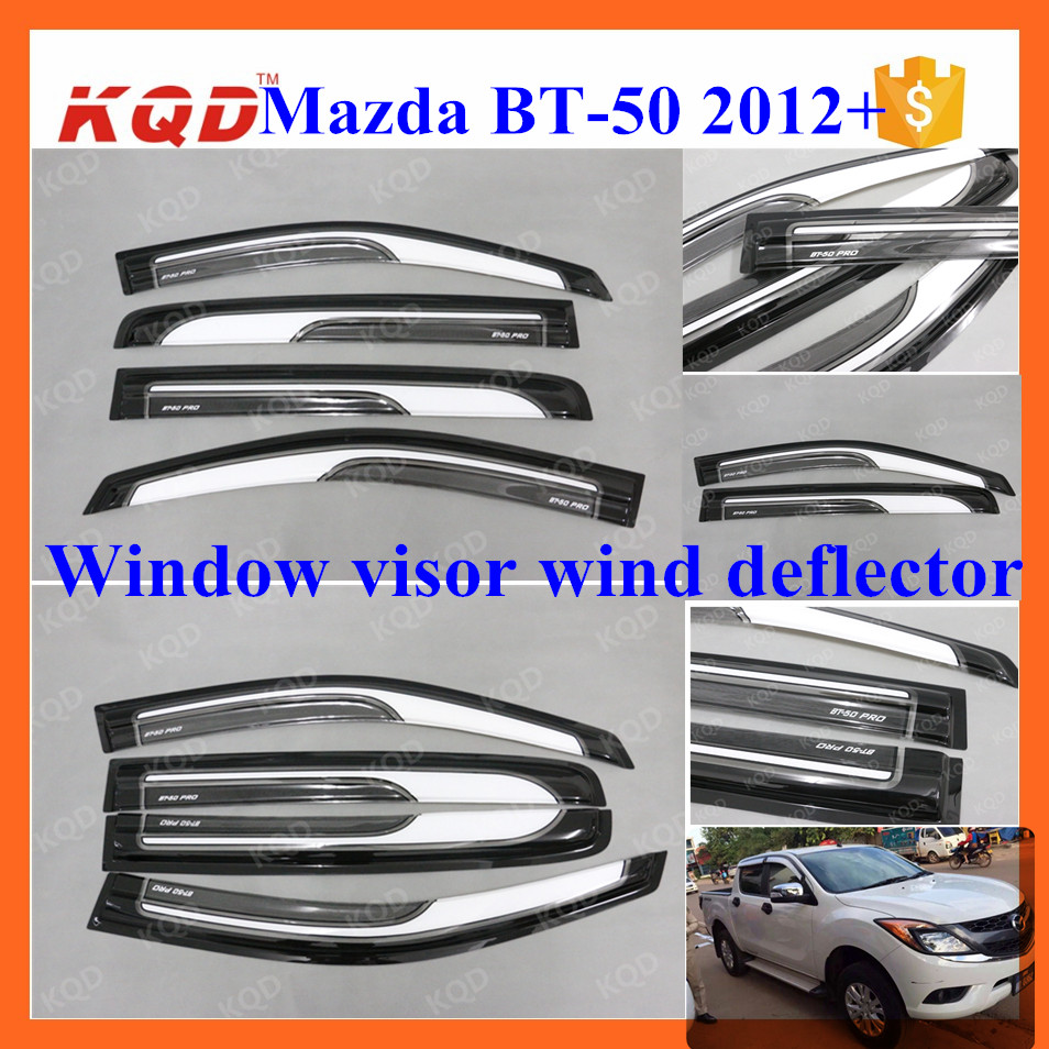 PC plastic rain shield wind deflectors window visors for mazda bt 50 2014 accessories bt-50 mazda bt50 accessories door visors