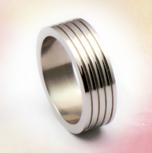 Grooved stainless steel bulk sale stainless steel rings wholesale jewelry