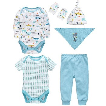 Fashion wholesale Newborn baby clothing set 6pcs bodysuit romper bib kids clothes products 100% cotton