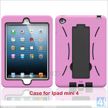 Heavy Duty Silicone Rubber Shockproof Stand Case Cover for IPad mini 4 , for ipad tablet kickstand cases