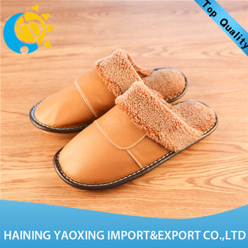 Hot genuine leather cow fashion ladies slippers custom manufacturer