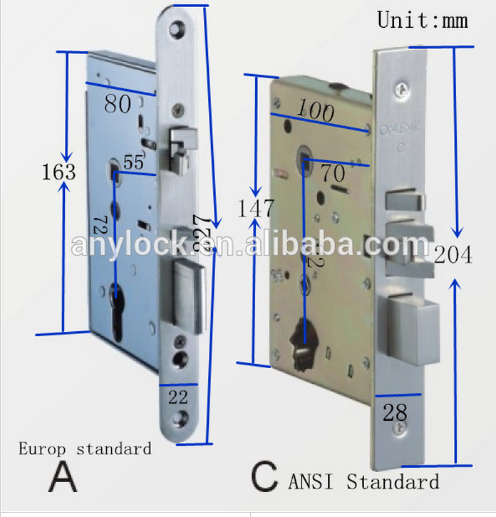 Palace 5 star hotel apartment use classic european design brass electronic cylinder mortise locks 9733RFG