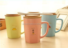 2014 new design Lovely couple with wooden cover milk <strong>cup</strong> ,gift <strong>cup</strong> for sweethearts