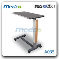 Adjustable over bed table hospital bedside tray table A035