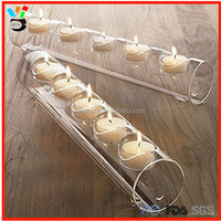 clear glass tube tea light candle holder