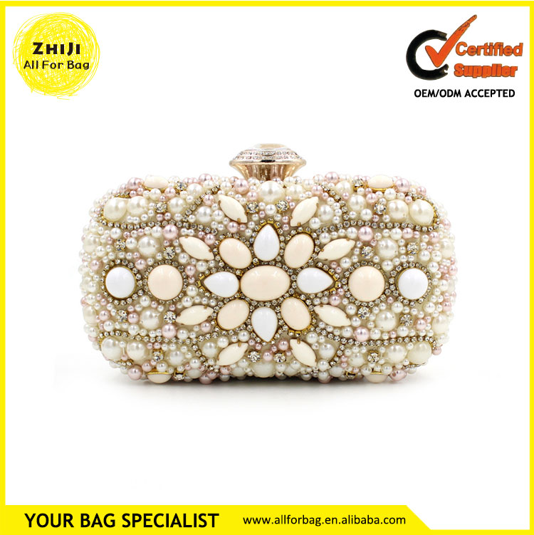 New style economic clutch beaded hard case evening bag