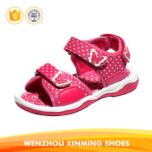 2017 new design red white color stylish kids child girls pu injection sandals