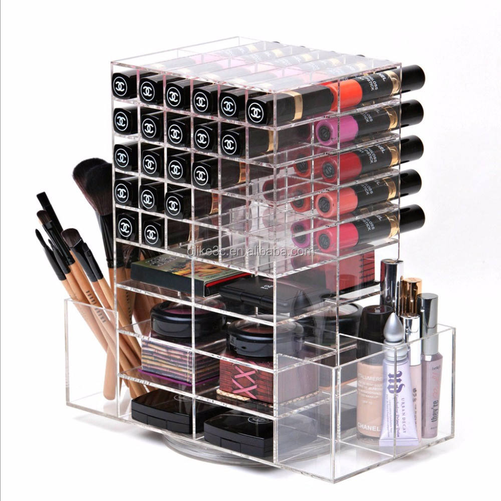 Acrylic mac lipstick storage/acrylic make up cosmetic display stand / rotating acrylic lipstick organizer