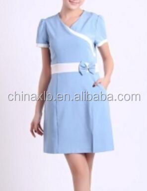 OEM manufacture hotel housekeeping uniform/Korean dress V collar dress foot hotel uniform