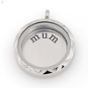 Hot selling polished stainless steel silver round shape memory charms floating locket mum plates