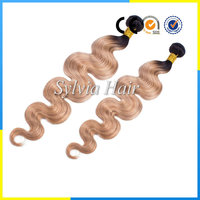 2016 best selling cheap price Grade 7a unprocessed human virgin remy Peruvian ombre blonde hair weave #1b/27