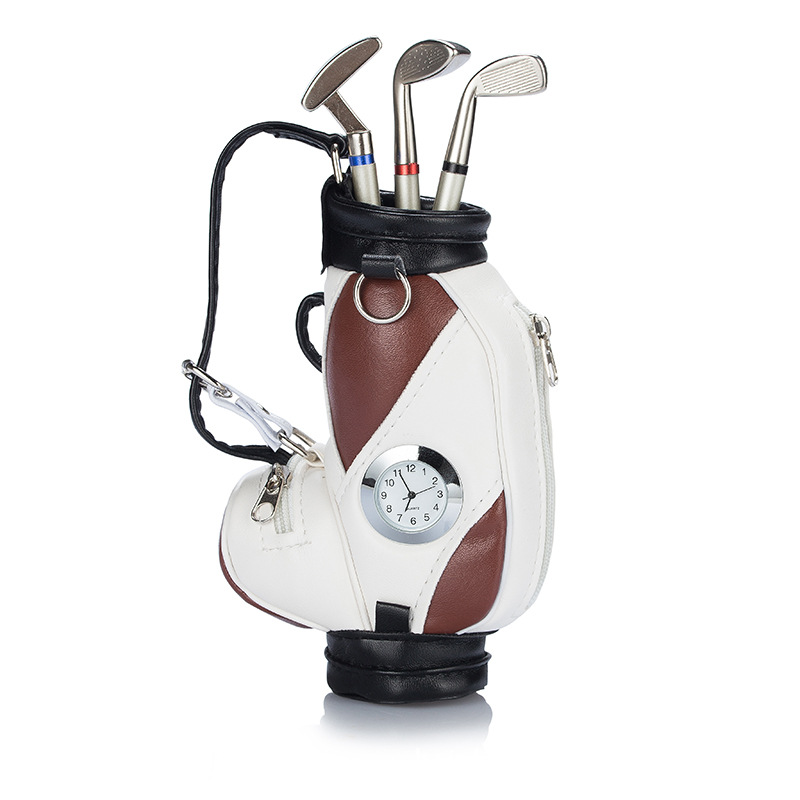 Custom Logo Original Mini Golf Trolley Golf Bag with Cart Desk Top Pen and Pencil Holder Gifts Golf Clubs Shape