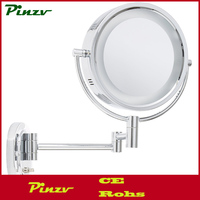 Chrome Finish HL65C 8-Inch Lighted Wall Mount Makeup Mirror with 5x Magnification