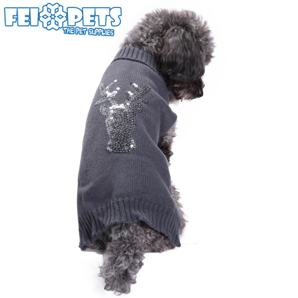 FX9024C Pet clothes supplier knitted sweater with sequin design for dog