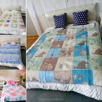 Custom made 100% Cotton home designs cartoon kids handmade embroidery patchwork wholesale comforter sets bedding