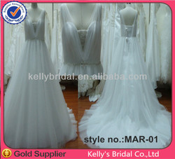 2014 Reall photos latest designs sofy white tulle with bit of beading dip hem wedding dresses made to order china