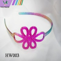 flower rainbow color gliter inside plastic alice hair band with teeth