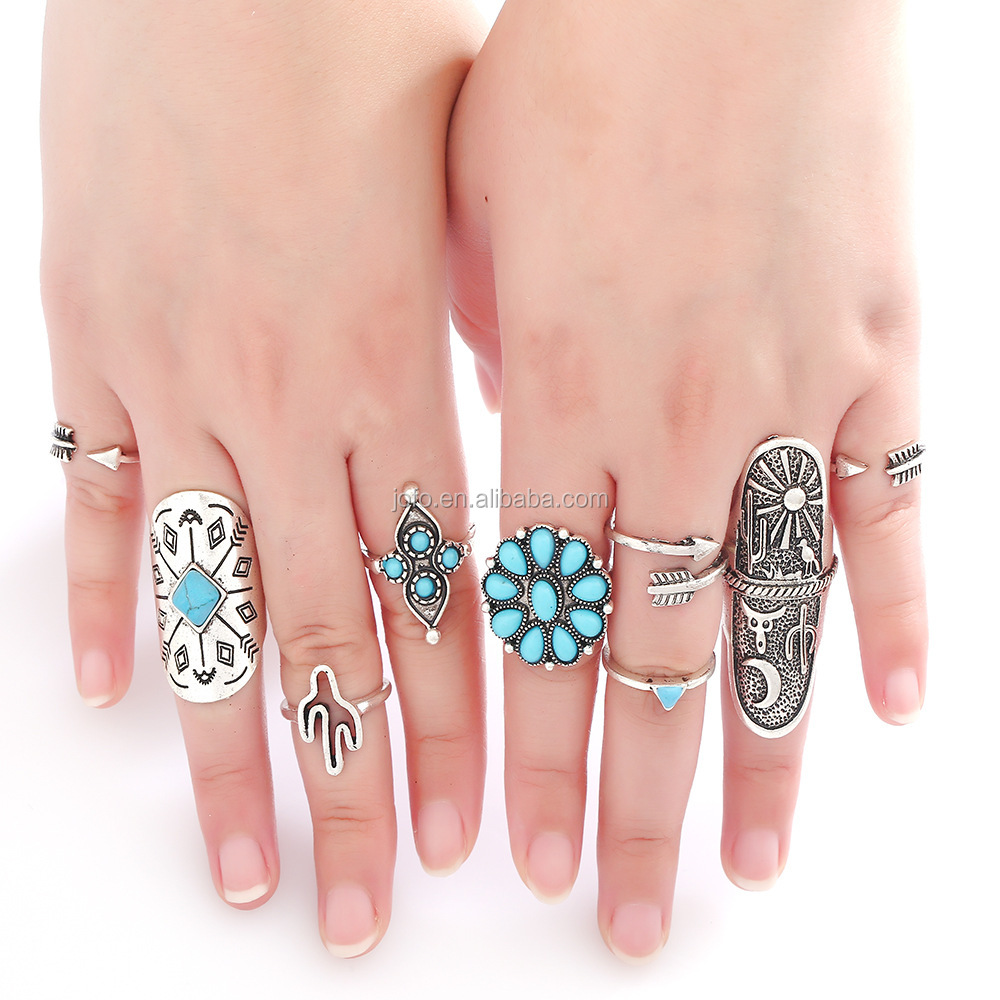 Wholesale 9PCS/Set Fashion Vintage Punk Bohemia Beach <strong>Rings</strong> For Women knuckle <strong>Ring</strong> Men Carving Tibetan Silver Joint <strong>Ring</strong> Set
