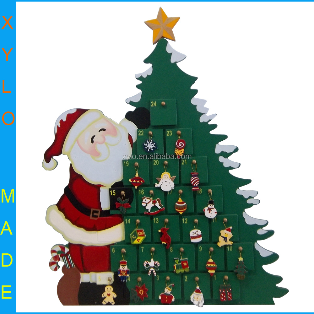 wooden christmas tree advent calendar with 24 pcs small drawers