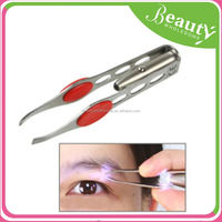 stainless steel curved tweezers ,H0T007 flashing tweezer