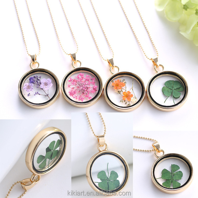 Europe and the United States jewelry Fashion sweater necklace plant dried flowers necklace creative personality crystal necklace