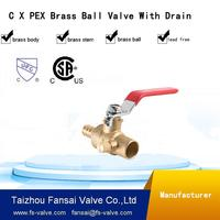 "High quality online USA eco-friendly copper forged two piece body 1"" red handle PEX*C welded brass ball valve with drain"