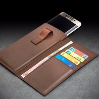QIALINO Handmade Leather Wallet pouch Case With card holder For samsung galaxy s7 mobile phone