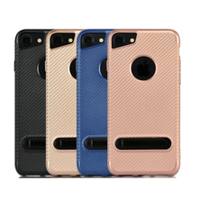 Carbon Fiber Fabric Pattern Soft TPU Protective Phone Case For iPhone 7 With Foldable Kick Stand