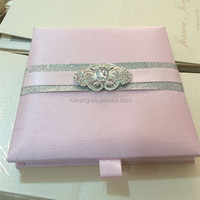 Thailand style super sliver sparkle white Silk invitation box with crystal brooch