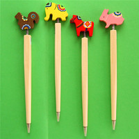 2016 China new stationery products Dog design carved wood pen mixed colors promotional