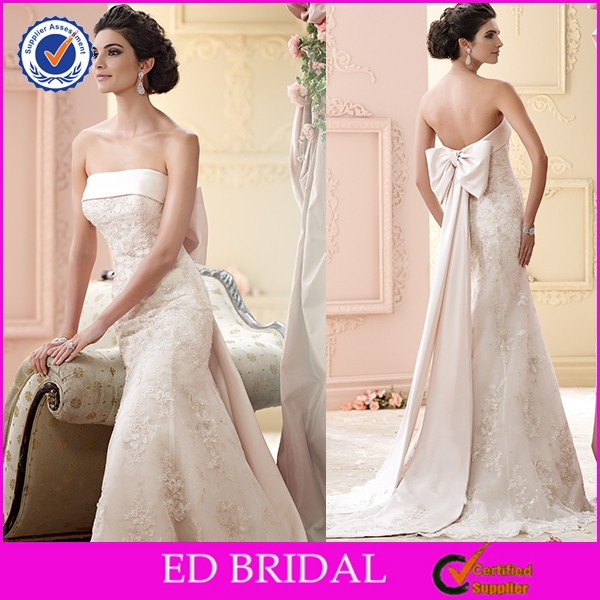 2015 Latest Japanese Style Lace Wedding Dresses With Bow Back