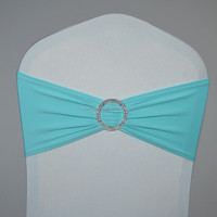 Aqua spandex chair bands with buckle for chair covers