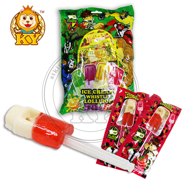 Double Flavor Musical Whistle Lollipop Sticks
