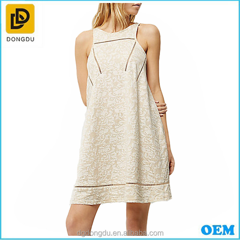 European stations relaxed fit beige printed jacquard sleeveless ladder trim casual swing dress vest dress