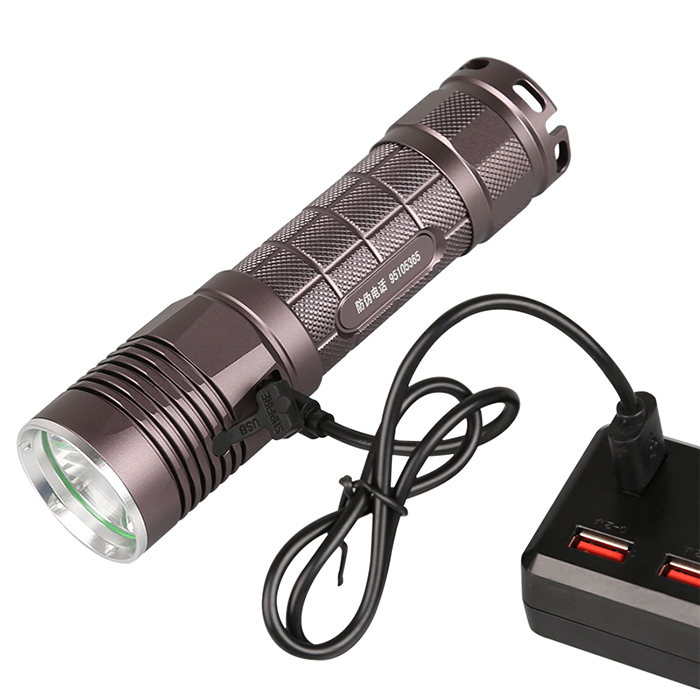 SupFire L5-S USB <strong>LED</strong> flashlight USB rechargeable mini torch dual switch tactical <strong>LED</strong> lighting