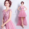 Cestbella Short Front Long Back Deep Pink Evening Dress Puffy Cocktail Prom Dress