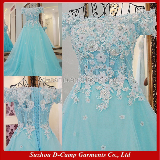 EL074 Aqua green pictures of latest ladies party wear gown