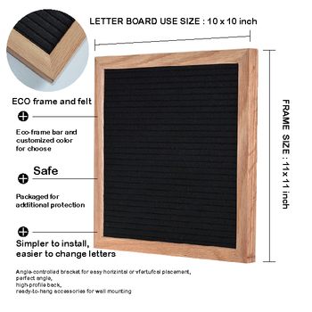 hot selling 10x10 inch 12 x 12 inch changeable black felt letter board for precut 340 letters numbers and emoticons Board